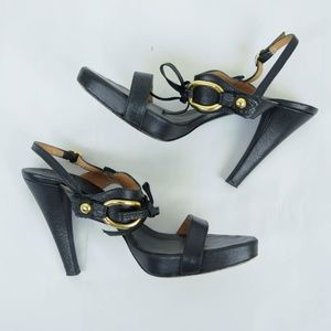 Max Mara Sandals Heels Black Leather Gold Buckle